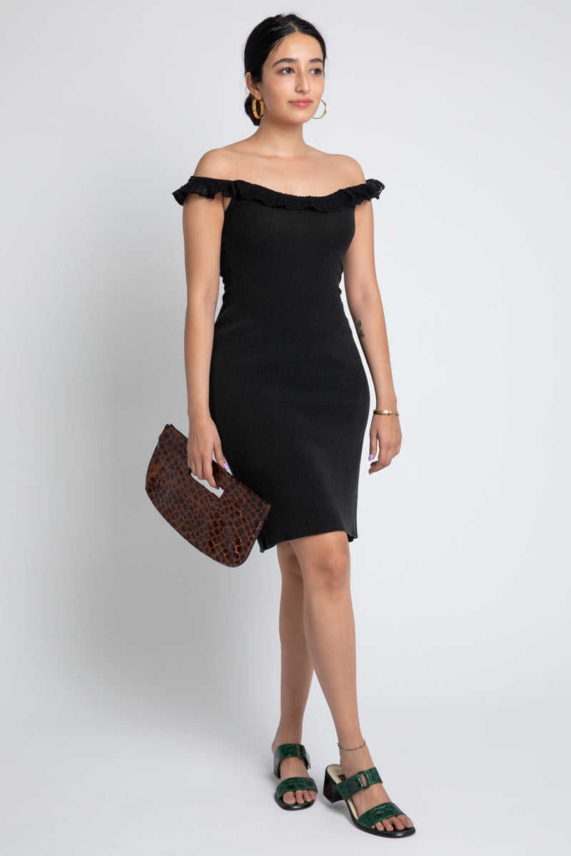 Vintage Moschino Black Off-Shoulder Dress