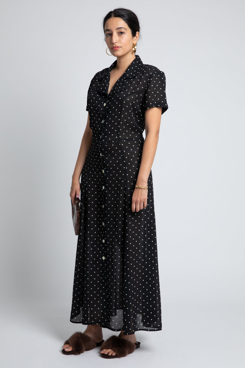 Vintage Black and White Dot Maxi Dress
