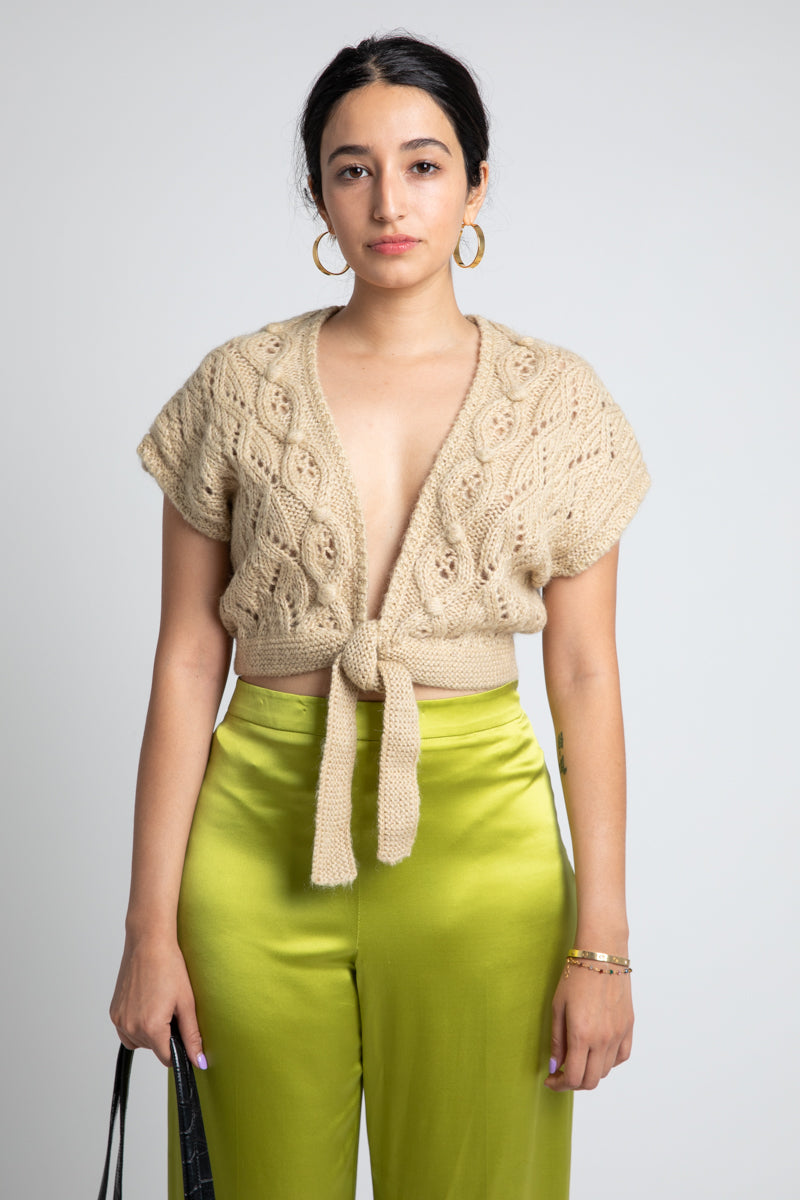 Vintage Crochet Tie Front Crop Top