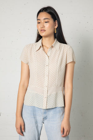 Vintage Oscar de la Renta Sheer Dot Button Up