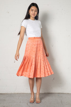 Vintage Valentino Apricot Pleated Silk Skirt