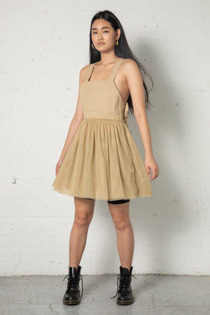 Valentino Tan Overall Mesh Dress