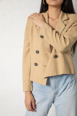 Vintage Christian Dior Tan Plaid Blazer