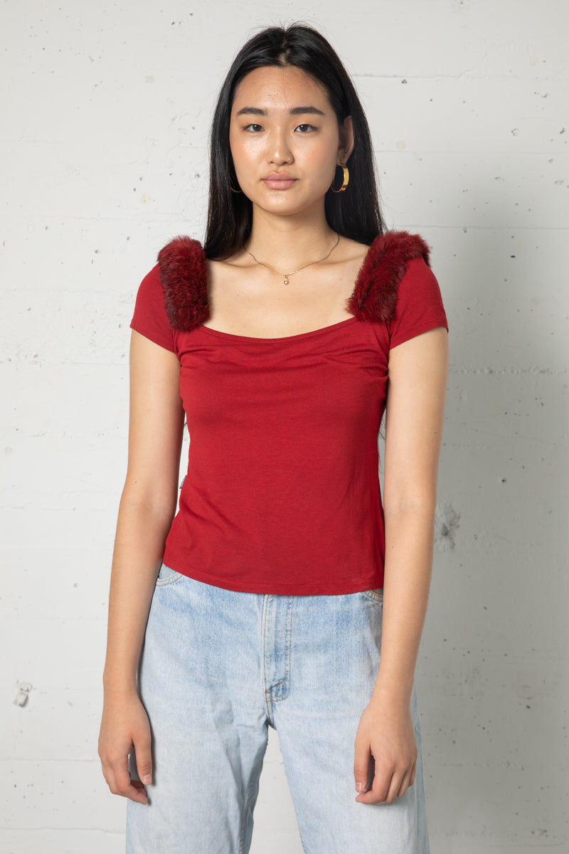 Vintage Moschino Red Fur Trim Knit Top