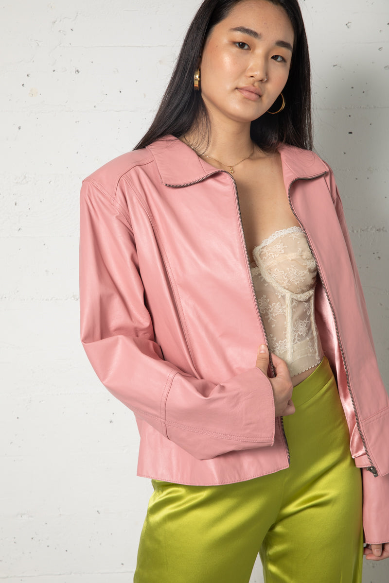 Vintage Pink Leather Jacket