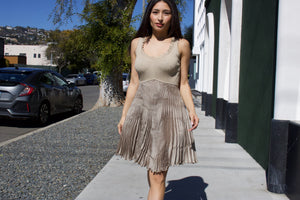 Vintage Adam Jones Paris Metallic Pleated Dress