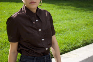 Vintage Dolce & Gabbana Brown Satin Button-up