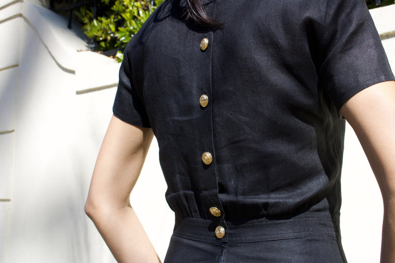 "Vintage ""Valentino"" Black Linen Dress"