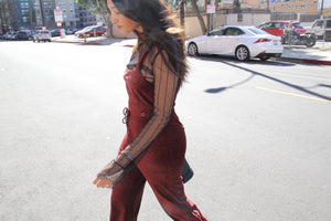 Brickin' My Heart Velvet Jumpsuit