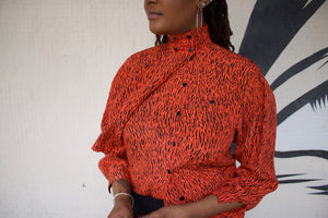 Vintage Escada Orange Animal Print Blouse
