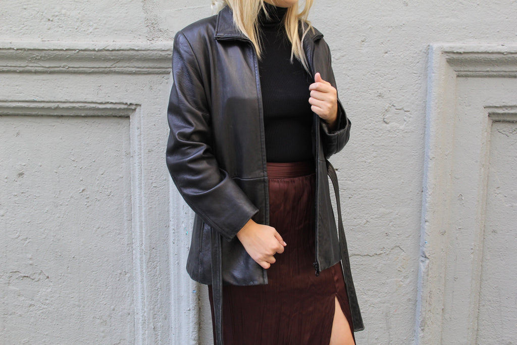 Vintage Black Belted Leather Jacket