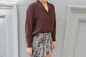 Vintage Chocolate Silk Shirt