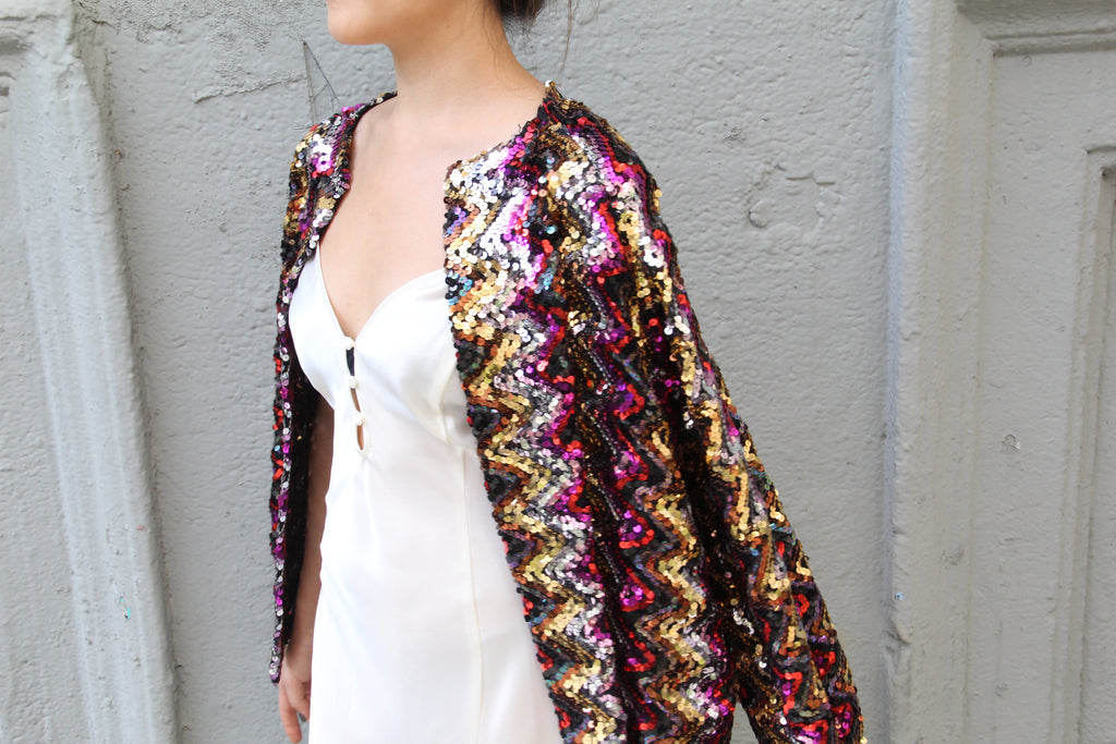 Vintage Multicolor Sequin Jacket