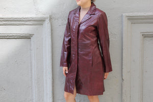 Vintage Wine Leather Trench