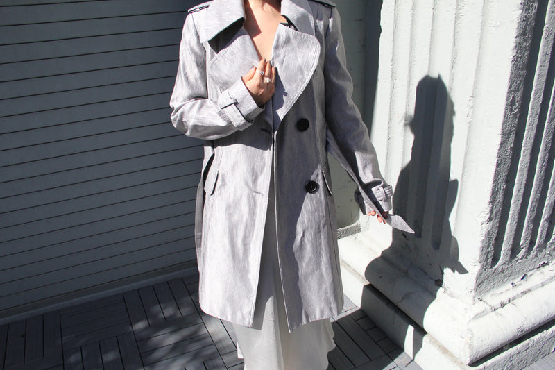 Vintage Silver Shiny Trench