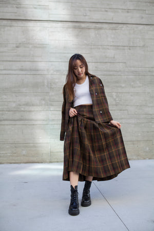 Vintage Christian Dior Plaid Pleated Skirt Set