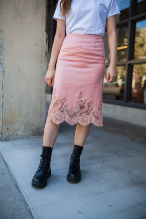 Vintage Valentino Pink Lace Skirt