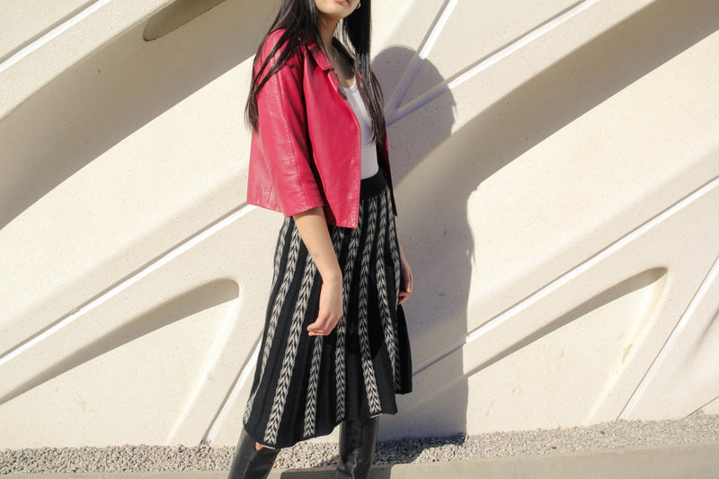 Vintage Chevron Pleated Knit Skirt