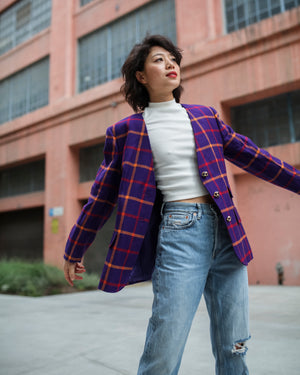 Vintage Valentino Purple Plaid Blazer