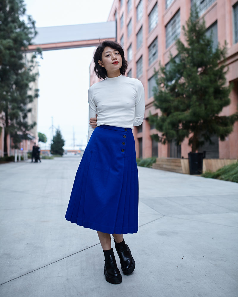 Vintage Christian Dior Blue Wool Pleated Skirt
