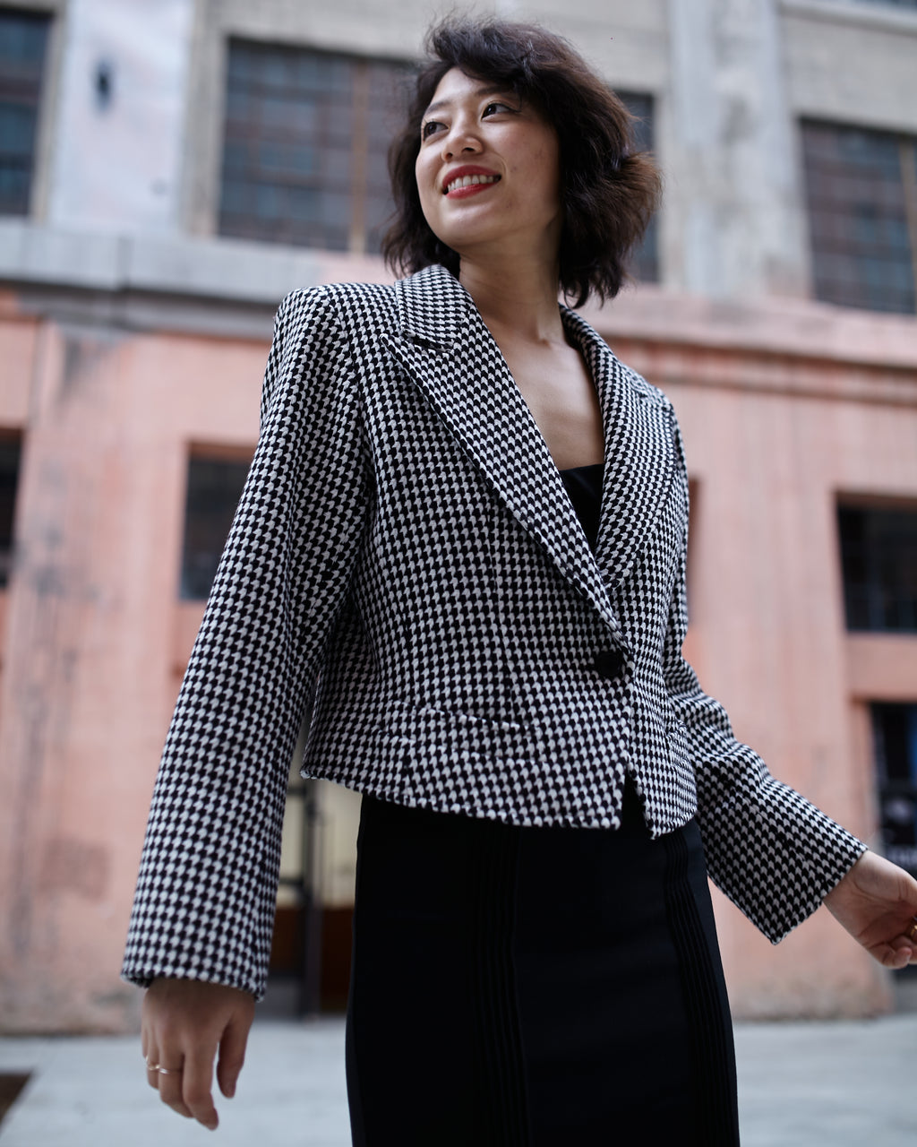 Vintage Yves Saint Laurent Textured Houndstooth Jacket