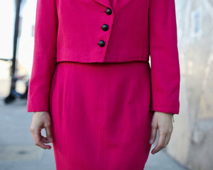 Vintage Christian Dior Hot Pink Suit Set
