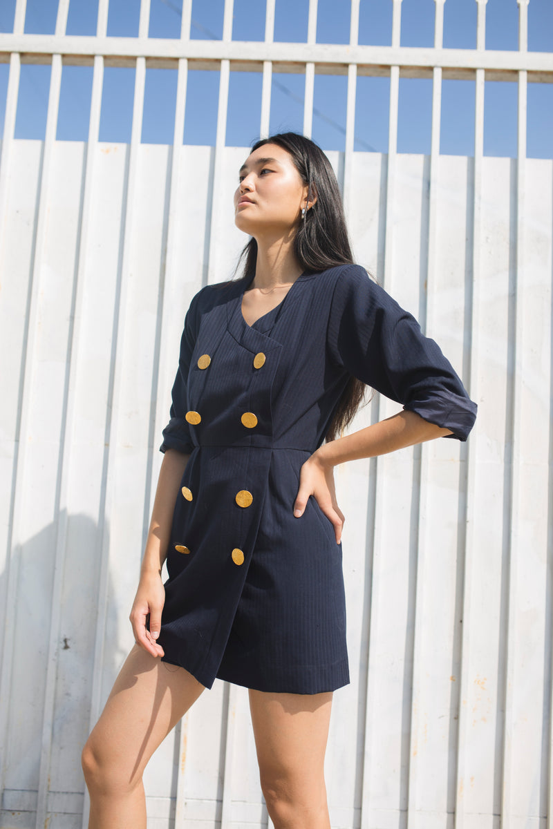 Vintage Yves Saint Laurent Navy Mini Dress