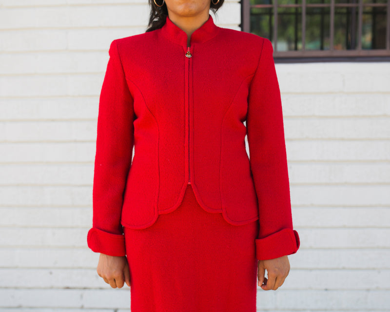 Vintage Christian Dior Red Textured Suit Set