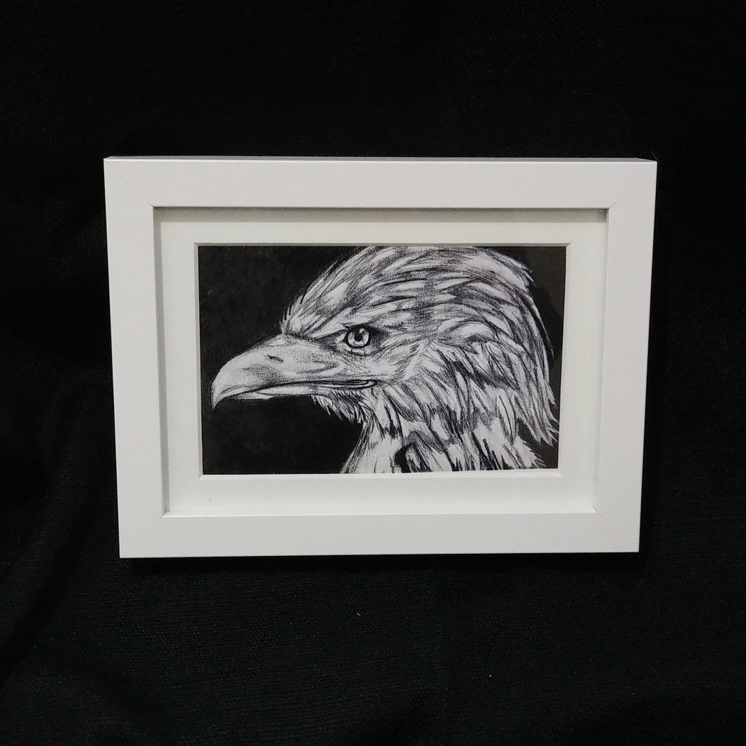 Children of the Earth Artwork - 4x6 - Black & White Eagle