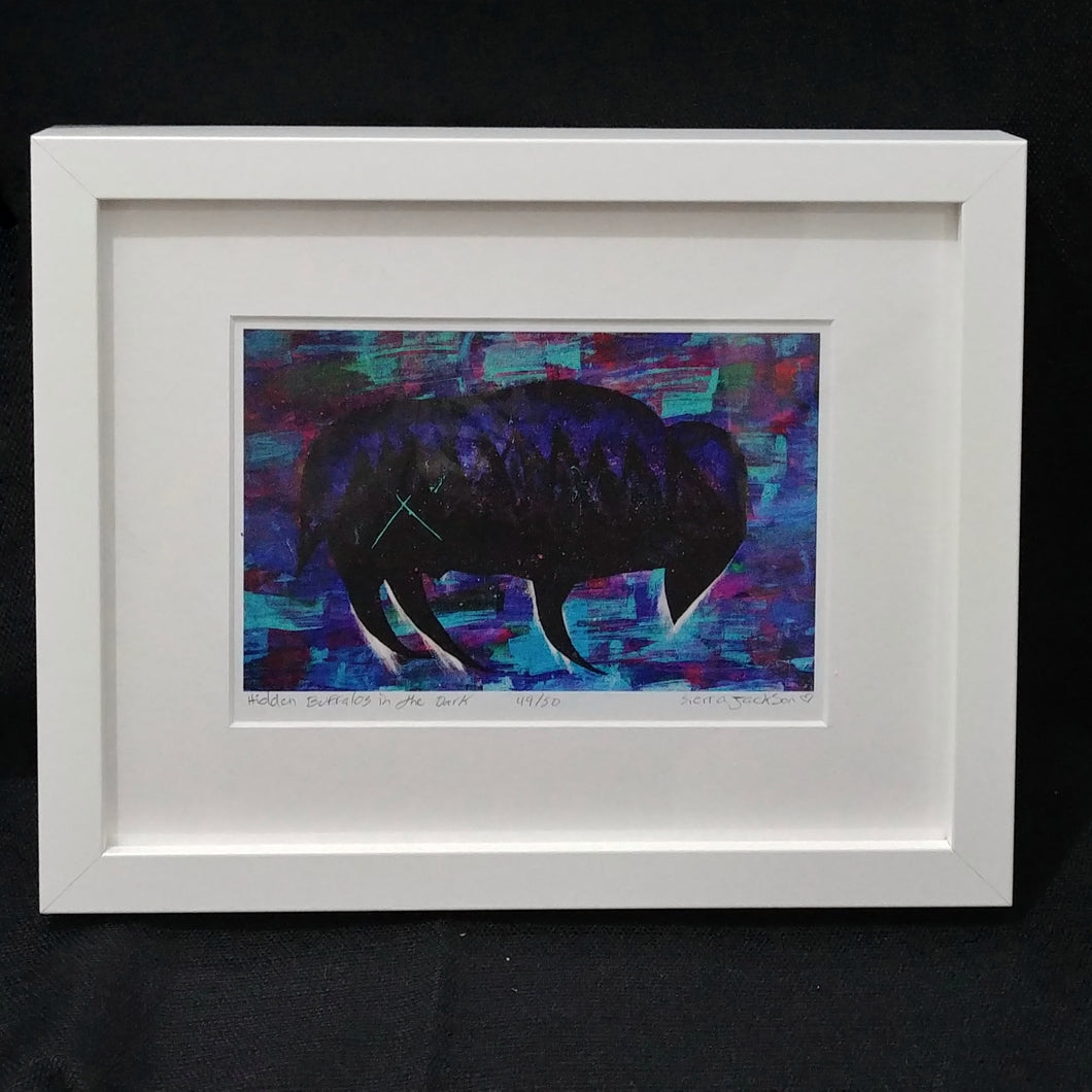 Children of the Earth Artwork - 8x10 - Hidden Buffalos in the Dark