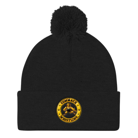Commack Wrestling Pom Pom Knit Cap