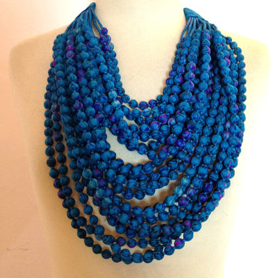 With Love from India 22-String Sari Necklace - Rich Blue