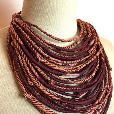 With Love from India Sari String Necklace - Sunset