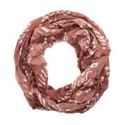 Batik Infinity Pom Scarf - Burnt Red