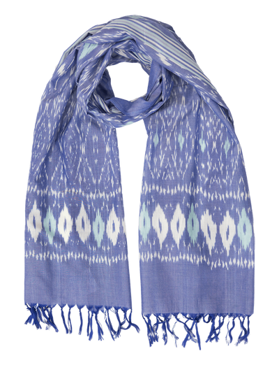 Passion Handwoven Ikat Scarf - Denim & Teal