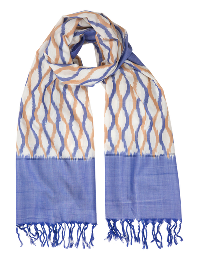 Passion Handwoven Ikat Scarf - Denim & Orange
