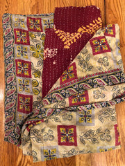 Stitches of Hope Kantha Quilt - Cranberry