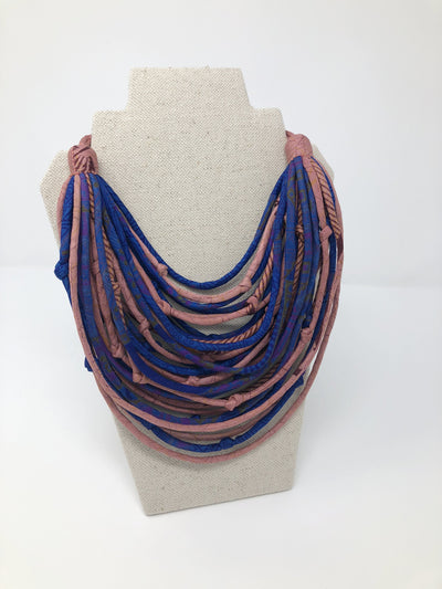 With Love from India Sari String Necklace - Cobalt and Blush