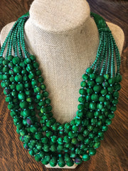 With Love from India Sari 12-Strand Necklace - Emerald