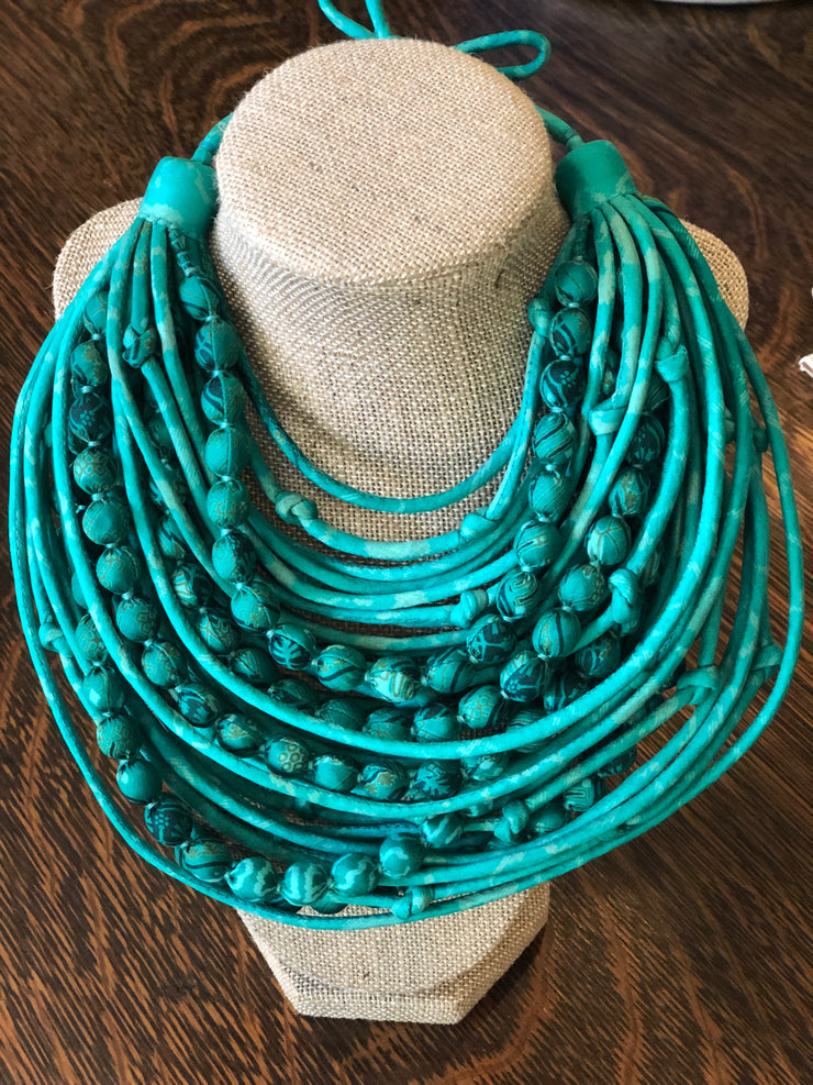 With Love from India Sari String & Bead Necklace - Mint