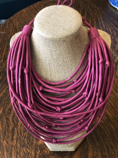 With Love from India Sari String Necklace - Pink Orchid