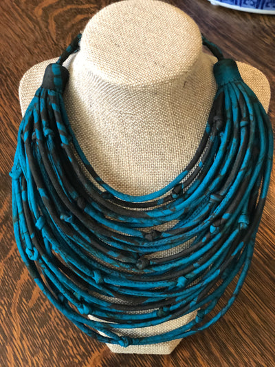 With Love from India Sari String Necklace - Teal and Black