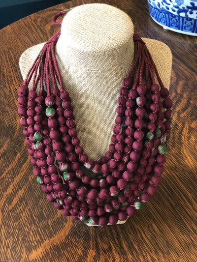 With Love from India Sari 12- Strand Necklace - Rich Burgundy