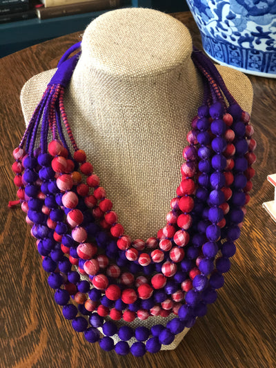 With Love from India Sari 12-Strand Necklace - Jewel Tones