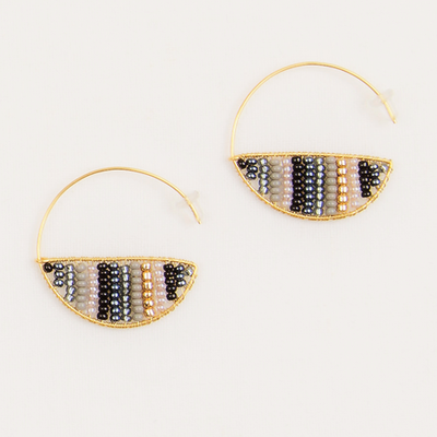 Beaded Half Hoop Earrings