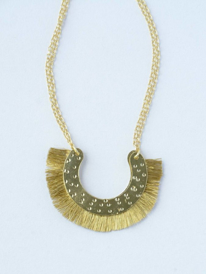 Golden Arc Fringe Necklace