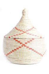 Out of Africa Lidded Basket - Red Accent