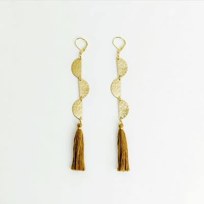 Half Moon with Tassel Earrings