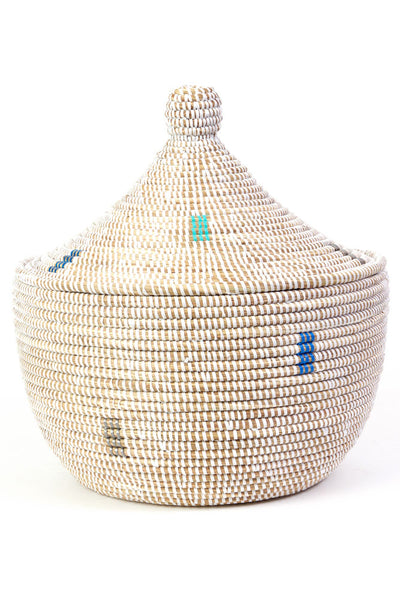 Out of Africa Lidded Basket -Cool Tones