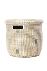 Anywhere Lidded Basket - White & Silver